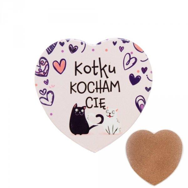 "Ceramiczna podkładka pod kubek z napisem "" Kotku Kocham Cię"""