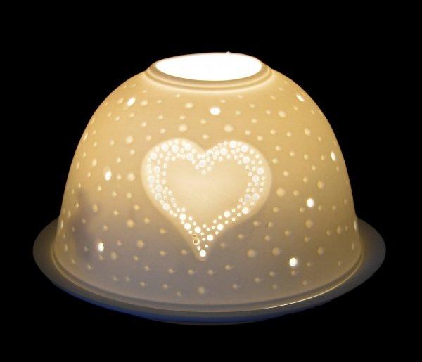 LAMPION PORCELANOWY Z SERCEM AŻUROWY