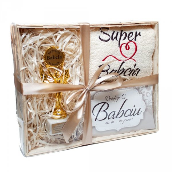Zestaw prezentowy dla SUPER BABCI w ozdobnym opakowaniu